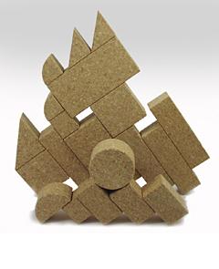 コルク積み木MIX組立て例斜めの城