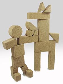 コルク積み木MIX組立て例馬と男の子